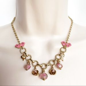 Betsy Johnson Chain Necklace Flowers Bows Pink